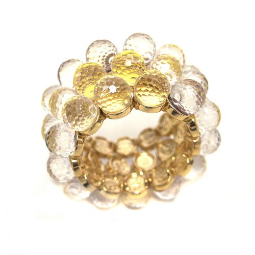 Julian Mejia Napkin Ring Crystal Faceted Balls Gold