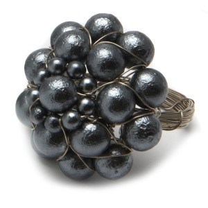 Deborah Rhodes Napkin Ring Jeweled Dome-Hematite