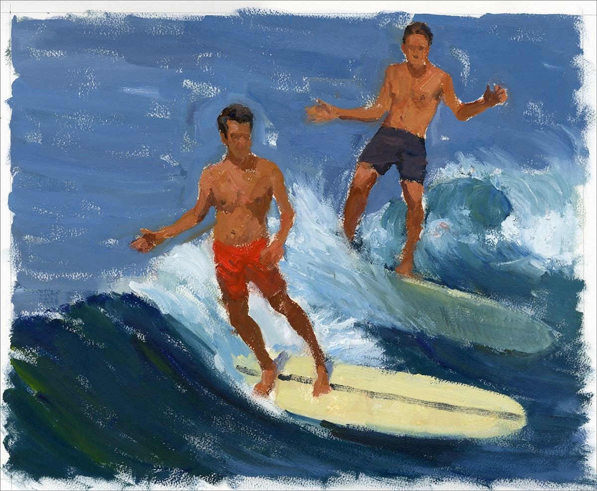 two guys surfing painting