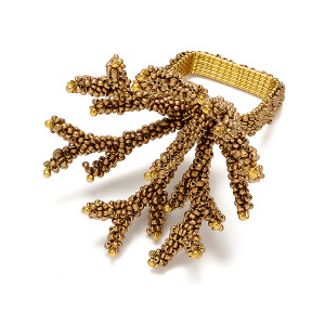 Kim Seybert Napkin Ring Coral Branch Gold Dust