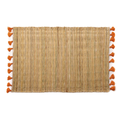 Deborah Rhodes Placemats PALM TASSEL Orange