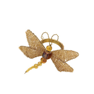 Kim Seybert Napkin Ring Sequined Dragonfly Gold