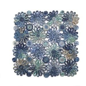 Deborah Rhodes Placemats Patchwork Daisy Square-Blue