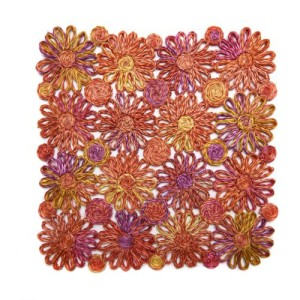 Deborah Rhodes Placemats Patchwork Daisy Square-Coral