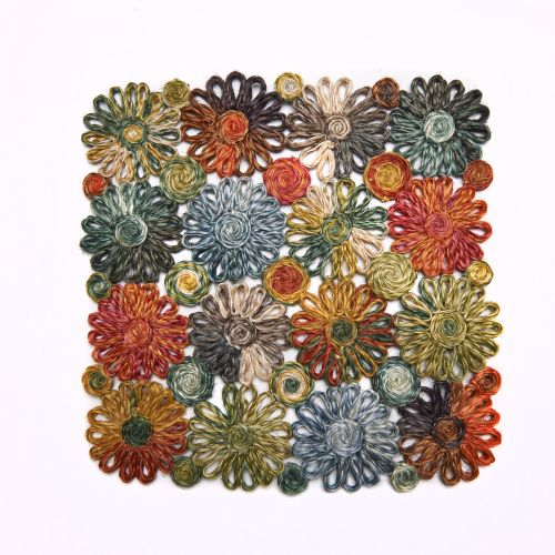 Deborah Rhodes Placemats Patchwork Daisy Square-Grass
