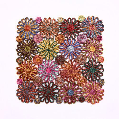 Deborah Rhodes Placemats Patchwork Daisy Square-Pink