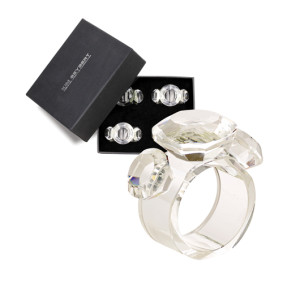 Kim Seybert Napkin Ring Diamond Boxed Set of 4