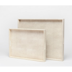 Made Goods EMERY XL RECT TRAY Off-White Seal Faux Shagreen Serving Tray