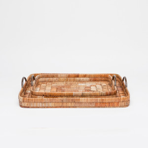 Made Goods ROYSTON XL Serving Trays Natural Rattan