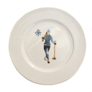 Chehoma Ascentielle Dinnerware Salad or Small Plate Round Ski Gal-8 x 8