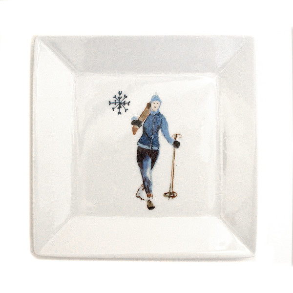 Chehoma Ascentielle Dinnerware Salad or Small Plate Ski Girl-7 x 7