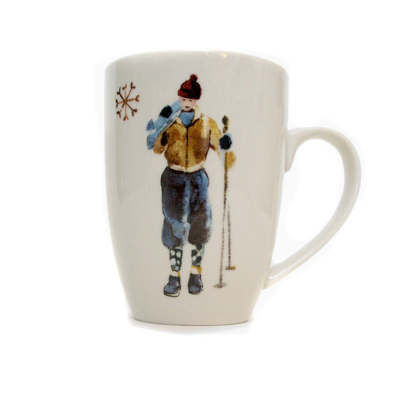 "Chehoma Ascentielle Dinnerware Mug Brown Ski Guy 3.32""w x 4.49h"