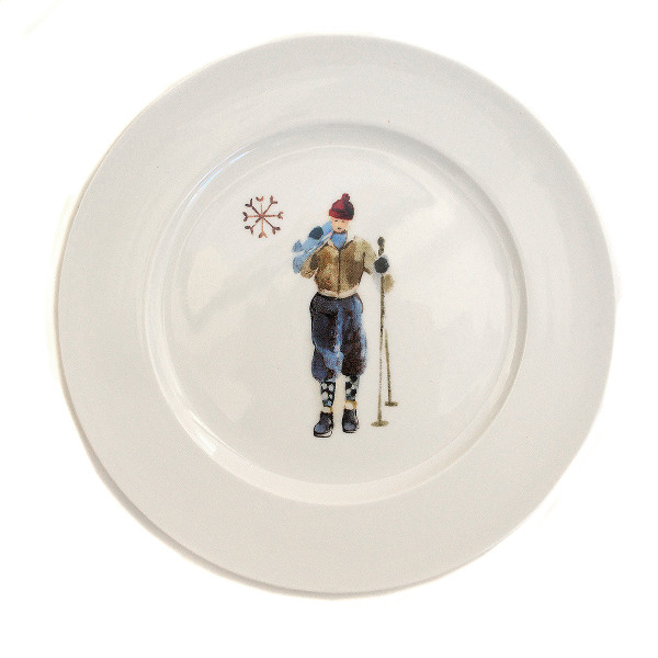 Chehoma Ascentielle Dinnerware Salad or Small Plate Round Ski Guy-8 x 8