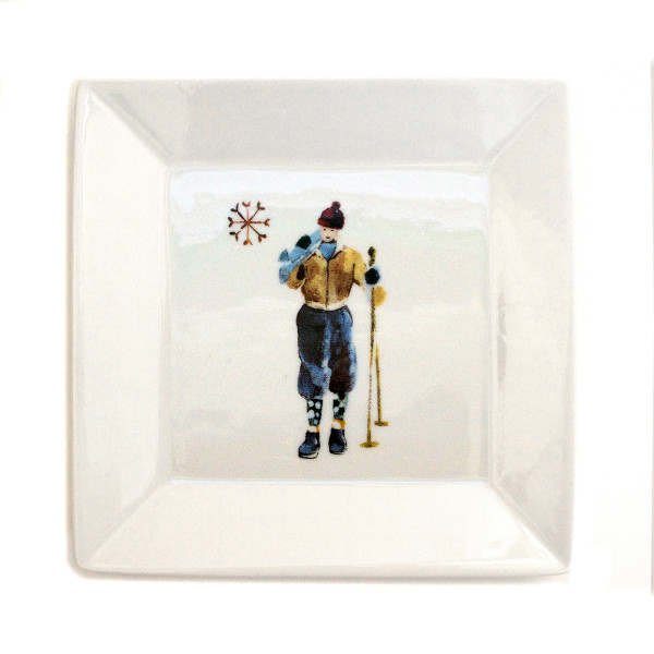 Chehoma Ascentielle Dinnerware Salad or Small Plate Ski Guy-7 x 7