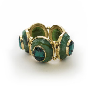 Julian Mejia Napkin Ring-Faceted Green Gold