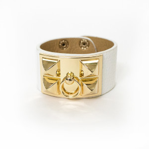 Julian Mejia Napkin Ring-Hermes Inspired-White-Gold