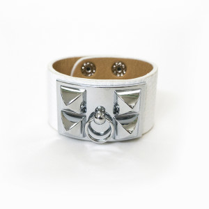 Julian Mejia Napkin Ring-Hermes Inspired-White-Silver