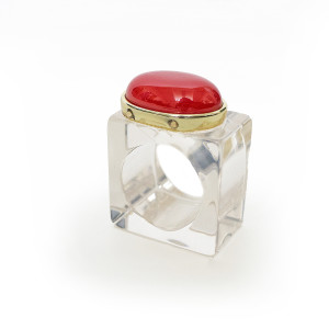 Julian Mejia Napkin Ring-Oval Stone on Lucite Red