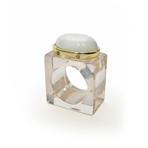 Julian Mejia Napkin Ring-Oval Stone on Lucite White