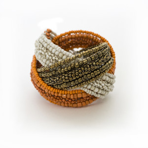 Julian Mejia Napkin Ring-Woven Beads in Gold White Orange