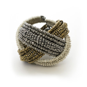 Julian Mejia Napkin Ring-Woven Beads in Gold White Silver
