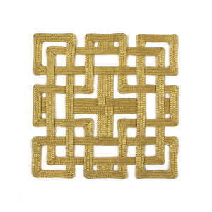 Julian Mejia Placemat Chinese Fretwork Gold Square