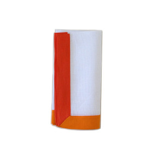 Tina Chen Designs Napkin White 2 Tone Orange Border