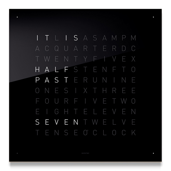 QLOCKTWO BLACK Acrylic Clock