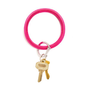 O-Venture Key Chain - EMBOSSED LEATHER - tickled pink lizard