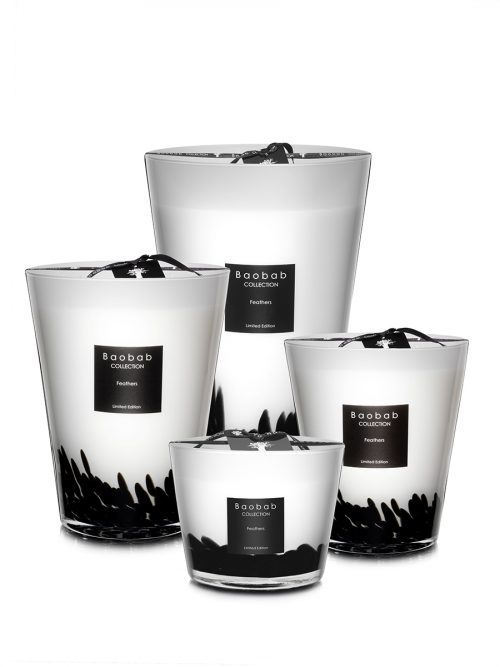 Baobab Candle Collection - Feathers - Black & White 9.4""