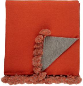 Alicia Adams Alpaca-Pom-Pom-Embellished Baby Alpaca Throw-Orange/Grey