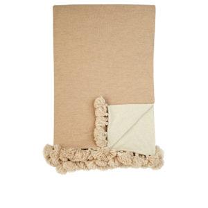 Alicia Adams Alpaca-Pom-Pom-Embellished Throw Beige/Ivory