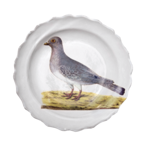 """Assiette Creuse Colombe 10"""" Round 1.25"""" Deep John Derian teamed up with Astier de Villatte to add his iconic imagery to their classic white tableware. The 19th-century inspired patterns and images perfectly complement the handmade ceramics. Handmade in Paris of glazed terracotta"""
