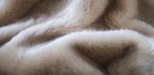 Evelyn Prelonge Cream Faux Fur Throw