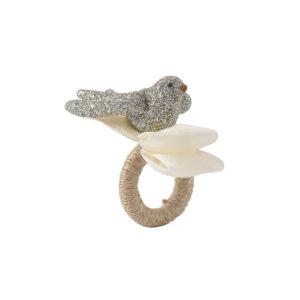 Juliska Sparkle Dove Silver Glitter Napkin Ring Set/4