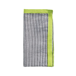Kim Seybert SEERSUCKER RIBBON IN BLACK & NEON GREEN NAPKIN