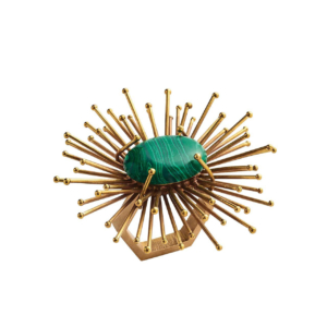 Kim Seybert CARNIVAL NAPKIN RING FLAIR GOLD & EMERALD