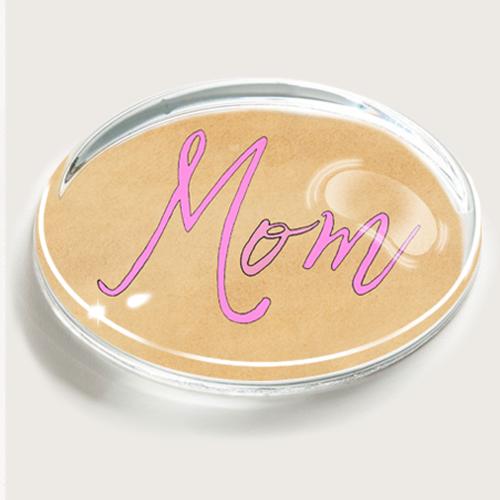 Ben's Garden Mom Pink Script Crystal Crystal Oval Paperweight