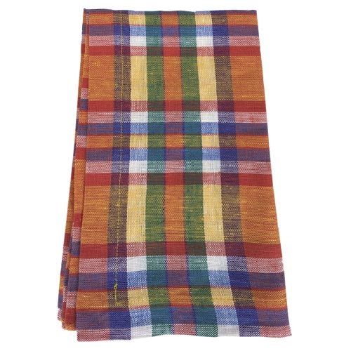 Deborah Rhodes Napkin Plaid Orange Combo
