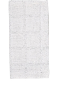 Deborah Rhodes Napkin Metallic Checked White