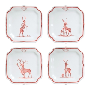 "Country Estate Reindeer Games Ruby ""Solo Sports"" Party Plates Set/4"