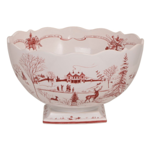 Country Estate Winter Frolic Ruby Centerpiece Bowl Christmas Celebration