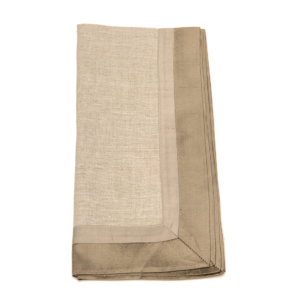 Tina Chen Designs Napkin Tone on Tone With Silk Border-Beige