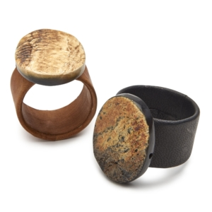 Deborah Rhodes Napkin Ring HORN & LEATHER CUFF