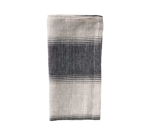 Kim Seybert BALTIC NAPKIN IN TAUPE & BLACK