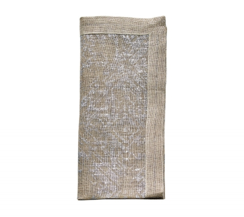 DISTRESSED NAPKIN IN NATURAL & SILVER