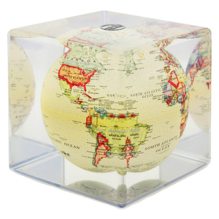 "POLITICAL MAP YELLOW MOVA GLOBE 5"" CUBE"