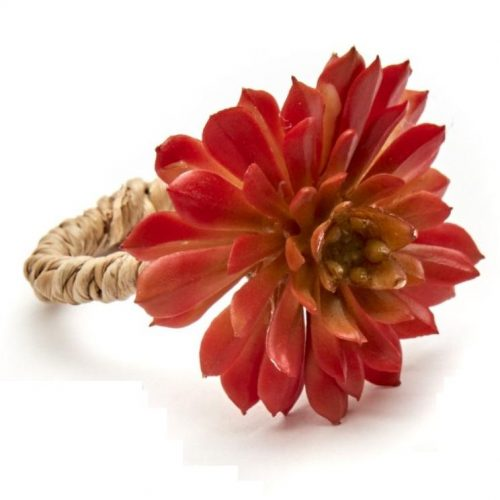 Deborah Rhodes Napkin Ring PRIMROSE CACTUS Red