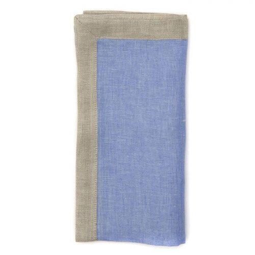 Deborah Rhodes Napkin RUSTIC BORDER Colony Blue