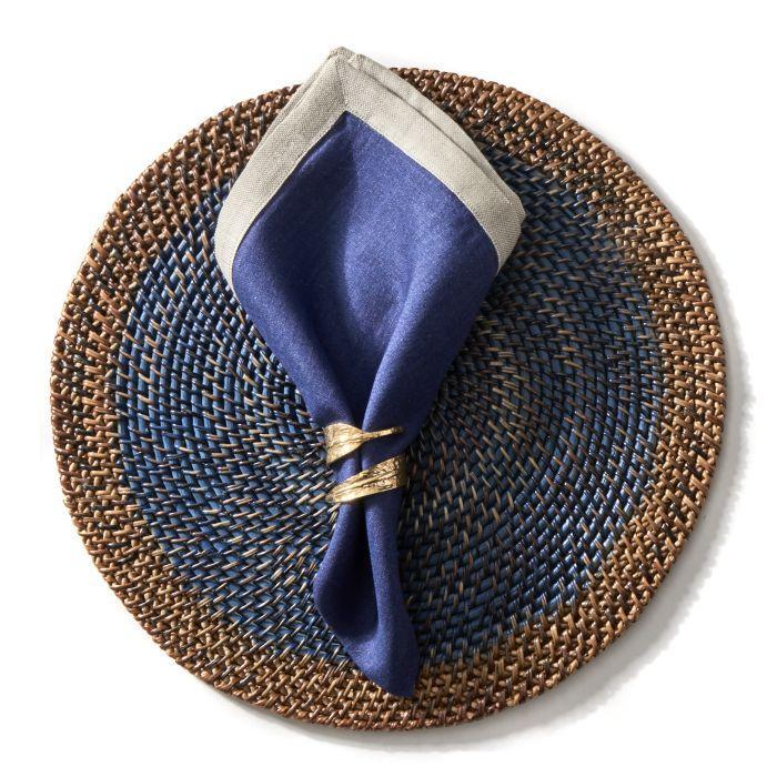 Deborah Rhodes Napkin RUSTIC BORDER Blue
